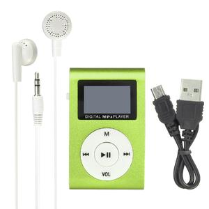 Mini Mental USB Music Clip MP3 Player LCD Screen Support 32GB Micro SD TF Card Green
