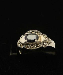 Sapphire Stone Silver Ring GB(5)4906