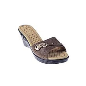 Maya TradersBrown Synthetic Leather Wedge for Women - QQ185