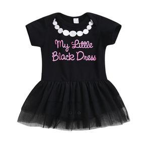 Girls Baby   Letter Print Short Sleeve Children Formal Jumpsuit Ball Gown Dress