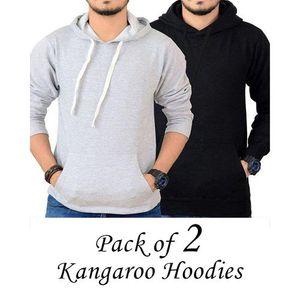 PACK OF 2 BLACK & GREY KANGAROO HOODIES FOR MEN