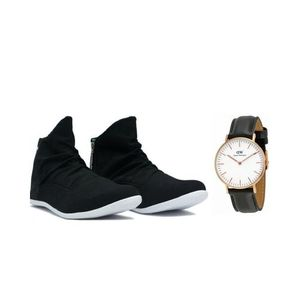 Pack of 2 - Black Zip Sneaker + Black Watch For Men