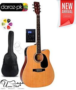 Original Giannini Recommended For Semi Acoustic Guitar Giannini Electric Cutaway 41 Jumbo Guitar (Design By Brazil) With Gig Bag, Belt, Plectrum Complete Pack