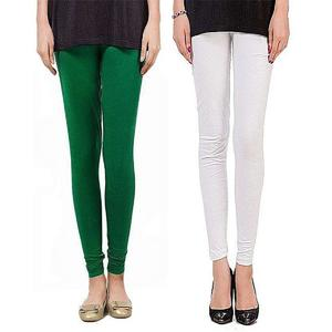 T Shirts & Tops Summer Collection 2019 Pack of - 2 Green & White Tights For Women