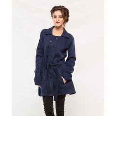 Navy Blue Fleece Long Coat With Front Pockets For Women