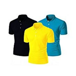 StyleoPack of 3 - Black, Yellow & Sky Blue Cotton Polo Shirt for Men
