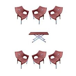 CHIEF(Boss) Set Of 6 Rattan Plastic Chairs And Plastic Table - Brown
