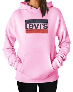LEVI'S Stylish Pink Printed Hoodie For Women