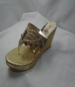 Golden Synthetic Fancy Heels Sleeper For Women - 411-51058