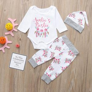 92bf4ee9dec0 Stonershop Baby Boys Girls Letter Floral Print Romper Jumpsuit+Pants+Hat Set  Clothes
