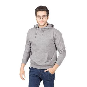 Heather Grey Plain Cotton & Wool Pullover Hoodie for Men