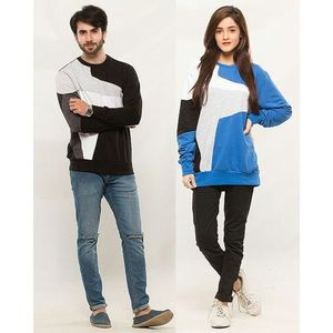 QK Styles Pack of 2 Multicolour Patches Sweetshirt For Couple
