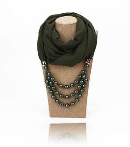 Rayon Chiffon Pearls Necklace Scarf – Fern Green