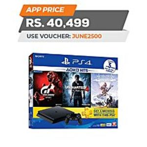 SonyPS4 HITS Bundle 500GB + Horizon Zero Dawn Complete, Uncharted 4, & Gran Turismo + 3 Month PS Plus
