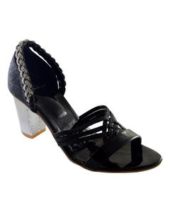 Black Synthetic Leather Heels For Women
