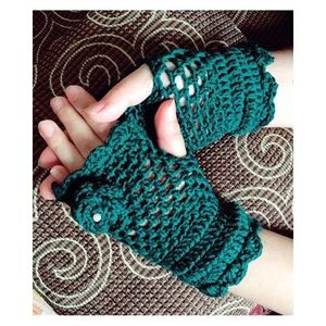 Dark Green Wool Gloves for Women
