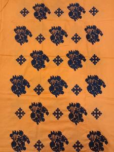 unstitch all over embroidered linen kurti Orange with Black thread