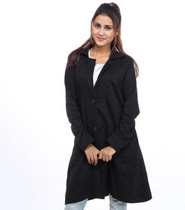 A&G-Fleece Long Coat for Women - Black