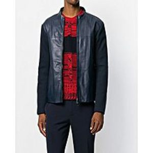 Enson Blue-Faux Leather Emporio Armani Jacket-For Men