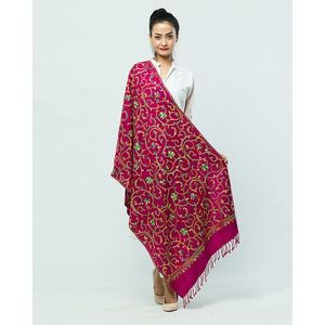 Magenta Kashmiri Embroidered Shawl for Women