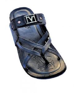 Black Leather Slippers for Men