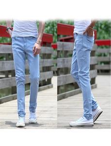 Sky Blue Men Denim Pants Slim Fit Stretch Hombre Jeans