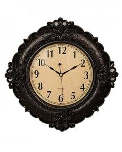 """Floral Embossed Antique Wall Clock - 17""""x17"""" - Black"""