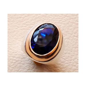 Handmade Silver Ring Natural Blue Sapphire Ring