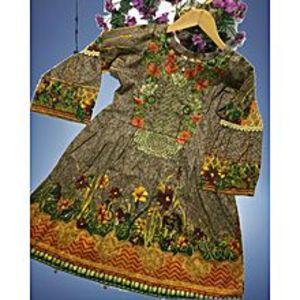 Brown Floret Unstitched Suit For Women - 3 Pcs