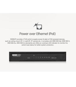 TOTO LINK SW804P8-PORT 10/100MBPS ETHERNET SWITCH WITH 4-PORT POE