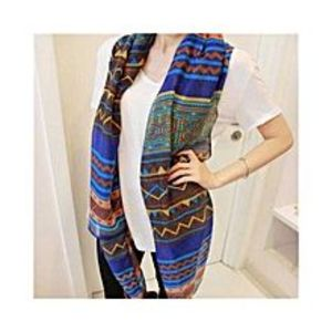 Chinese Dukaan Blue Brown Trendy Women Long Bohemian Printed Wrap Scarf for Girls