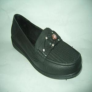 Black Rubber Slip On Shoes For Women