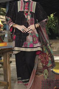 Almirah Summer Spring Collection Vol.01 2019 Black Lawn 3pcs Stitched Suit For Women