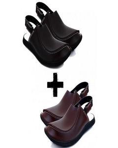 Pack Of 2 - Brown & Black Traditional Peshawari Sandal For Men