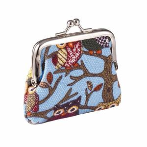 New Fashion Women Girls Lady Canvas Multi-color Owl Pattern Coin Money Bag Purse Wallet