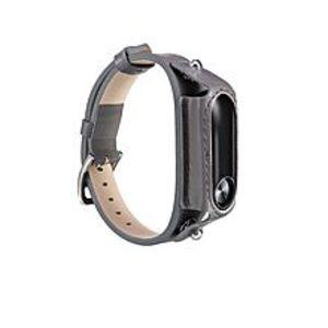 LNKOOXiaomi Mi Band 2 Leather Watch Wristband Strap - Grey