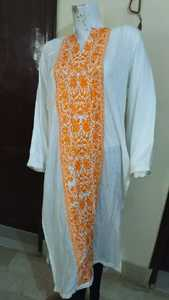 of white color kurta style embroidered and stitched shirt for females stuff linon by Uptodate