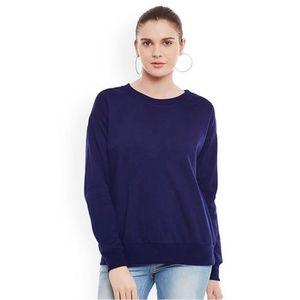 Navy Blue Fleece Sweat Shirt For Women
