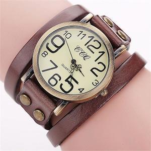 CCQ Brand Vintage Cow Leather Bracelet Watch Men Women Wristwatch Quartz CO