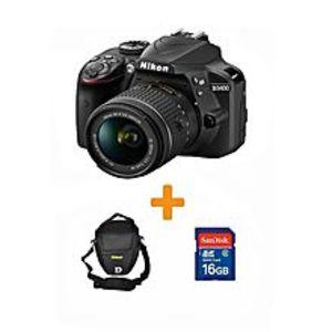 NikonD3400 - DSLR Camera - 24.2 MP 18-55- 16GB card- Bag BLK