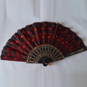 Folding Sequins Hand Fan Wedding Party Fan Traditional Chinese Fans Embroidered Fan China Royal Decor