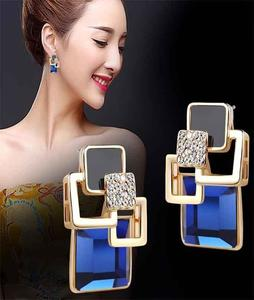 Vintage Long Square Crystal Earrings For Women Classic Gold-Color Fine online Jewelry sale