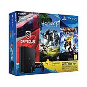 SonyPlaystation 4 HITS Bundle 500GB + Horizon Zero Dawn, Ratchet & Clank, and Driveclub + 3 Month PS Plus