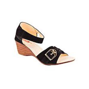 AeysBlack Velvet heel sandal For Women