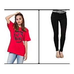 PASSWORD Pack Of 2 - Black Jeans And Red Tshirt For Women - Jn-02-Rd
