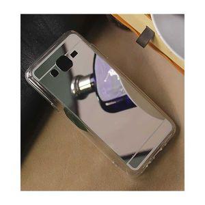 For Samsung Grand Prime Plus Luxury Mirror Shine Tpu Plane Simple Phone Cover Color Silver