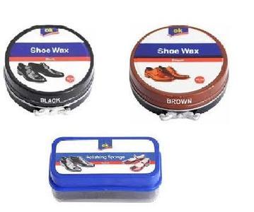 Pack of One Ok Shoe Polish Black, Shoe Polish Brown, Shoe Polish Sponge