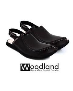 Woodland Black Leather Traditional Peshawari Sandals for Men