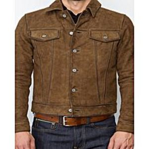 TASHCO Clothing New Men's Brown Suede Leather Jacket