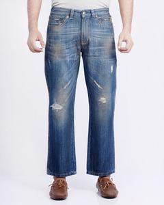 Blue Distressed Denim Jeans With Bone Coin Pocket